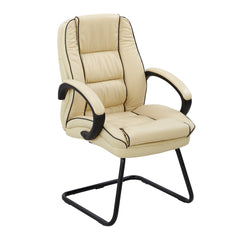 Truro Cantilever Framed Leather Faced Visitors Armchair With Contrasting Piping