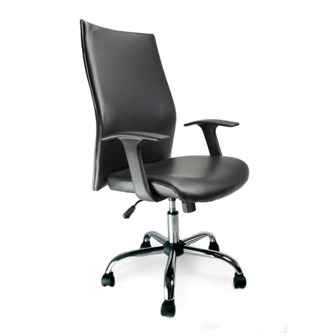 High Back office chair faux leather and chrome finish