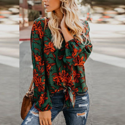 Round Neck  Floral Printed  Blouses