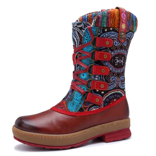 Multicolored Wool Knitting Leather Splicing Flat Bottom Lacing Boots