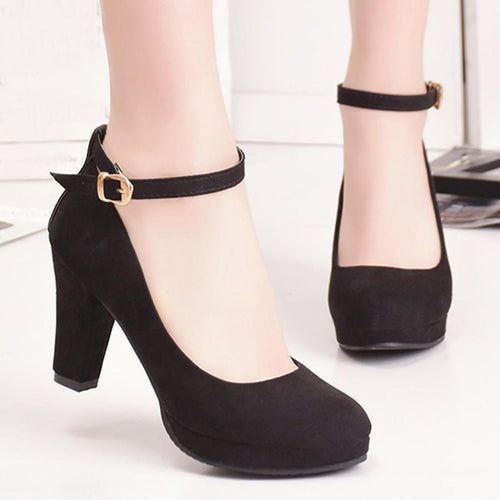 Plain  Chunky  High Heeled  Velvet  Ankle Strap  Round Toe  Date Pumps Shoes