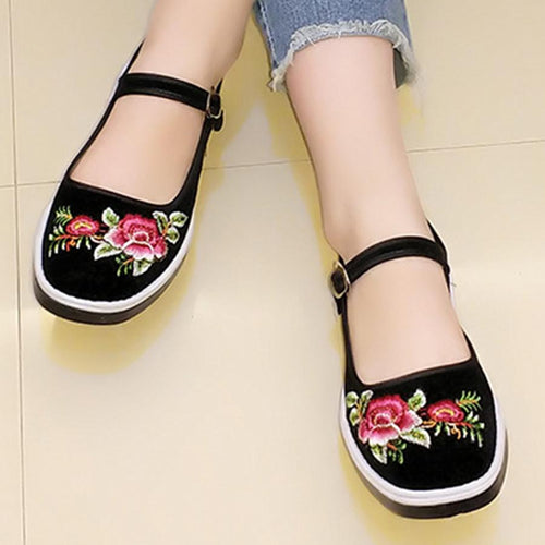 SOCOFY Embroidery Floral  Flat  Cotton  Ankle Strap  Round Toe  Casual Flat & Loafers