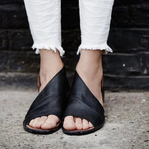 Sexy Side Open Casual Solid Open Toe Leather Sandals Shoes