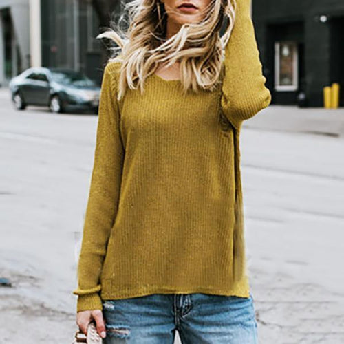 Round Collar Bat Sleeve Ripped Sweater