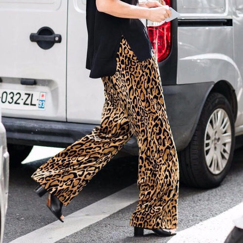 Elegant Business Fashion Loose Leopard Print Straight Let Pants