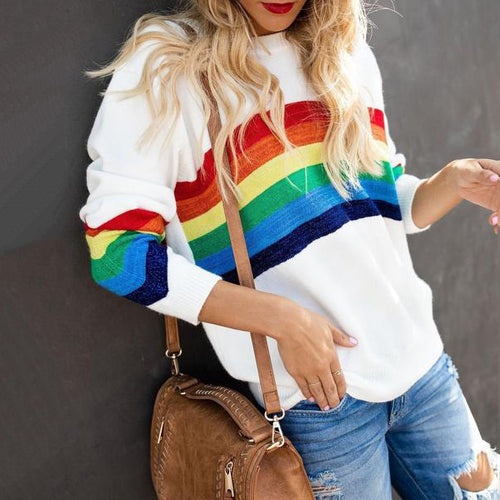Fashion Six-Color Rainbow Striped Jacquard  Sweater