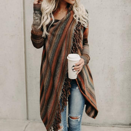 Tassel Patchwork Color Long Sleeves Irregular Cardigan