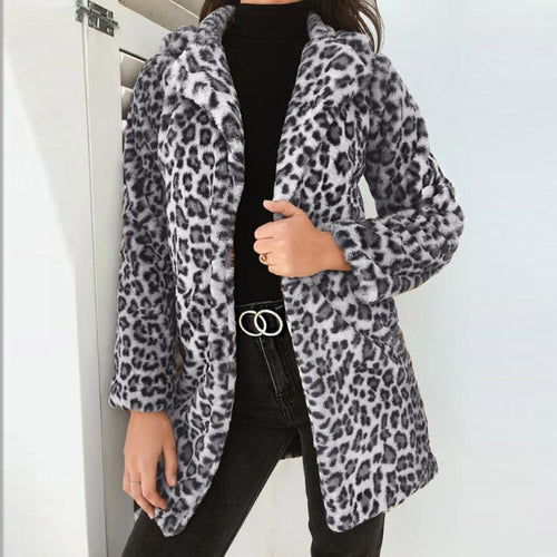 Fashion Leopard Printed Long Sleeve Coats