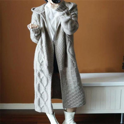 Casual Chic Slim Plain Long Sleeve Coat Long Cardigan