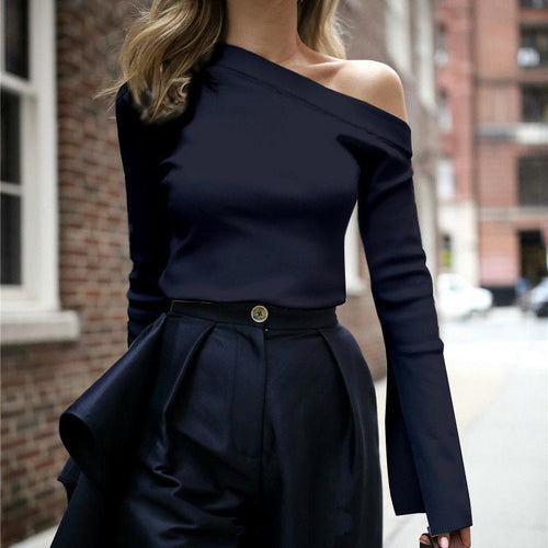 🔥Flash Sale Fashion Pure Color   Single Shoulder Long-Sleeved Top