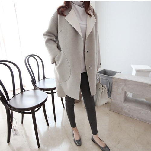 New Loose Slim Lapel Woolen Coat