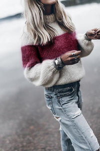 High Neck  Color Block Patchwork Sweater