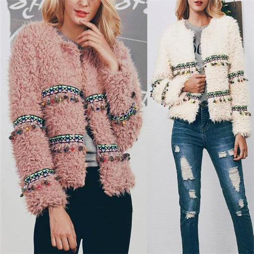 Casual Fashion Sweet Fur Fringe Front Solid Color Long Sleeve Cardigan