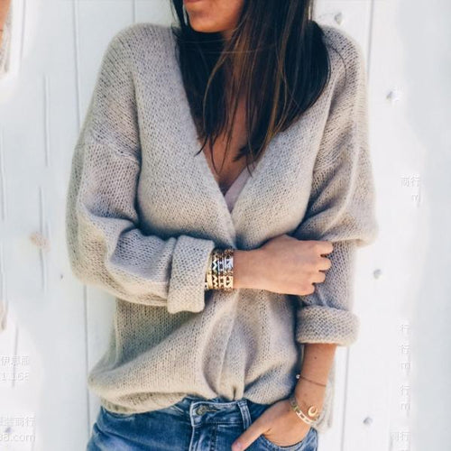 Sexy Deep V Pure Colour Cardigan Knitwear