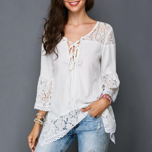 Casual V Neck Lace Splicing T-Shirt