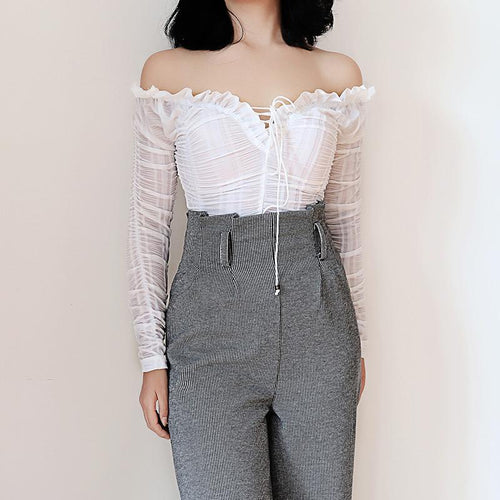Fashion Off-Shoulder Slim Vintage Shirt