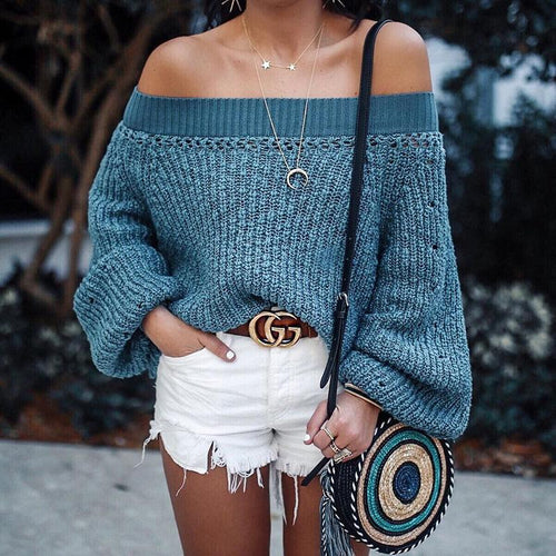 Sexy Off Shoulder Long Sleeves Knitting Plain Sweater