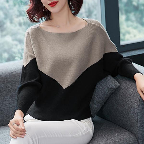 Fashion Bat Sleeve Round Neck Contrast Color Knitwear