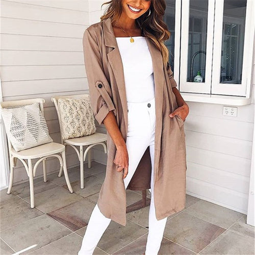 Casual Medium And Long Style Pure Color Loose Windbreaker Coat