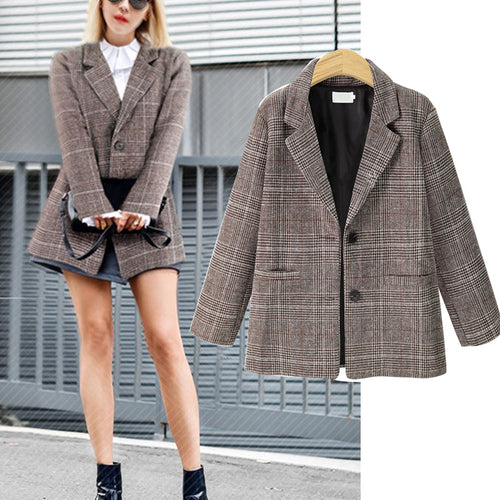 Retro Style Casual Show Thin Plaid Suit Jacket Coat