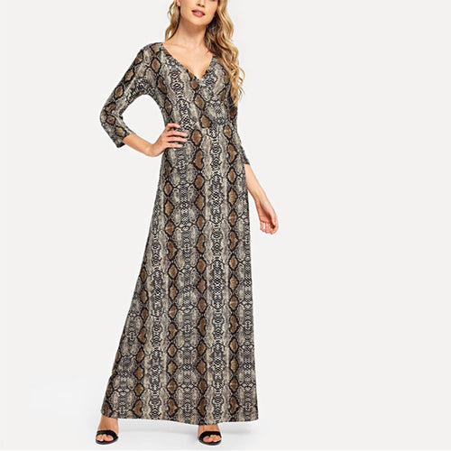 Casual Retro Style Snakeprint Long Sleeved   Maxi Dress