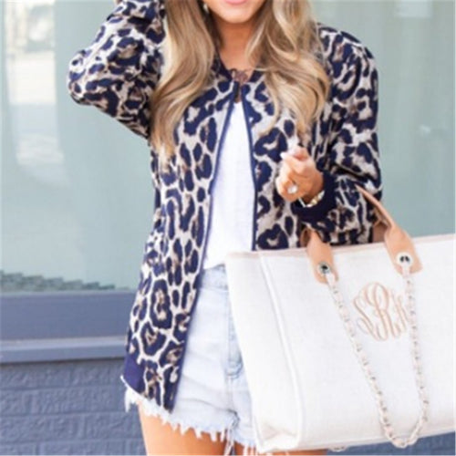 Stylish Leopard Print Zipper Jacket