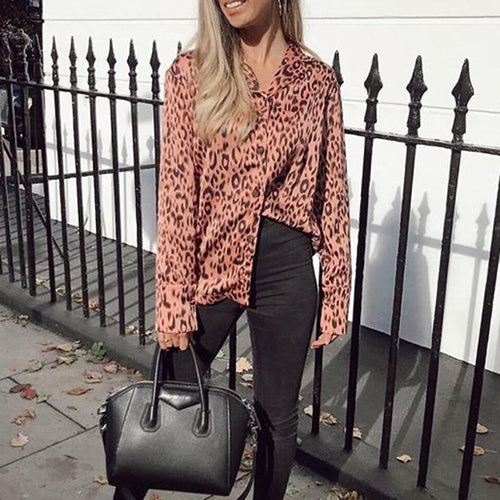 Fashion V Neck Leopard Print Long Sleeve Chiffon Shirt