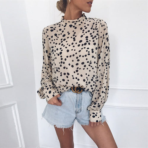 Casual Wave Point Printed Long Sleeved Shirt Blouse
