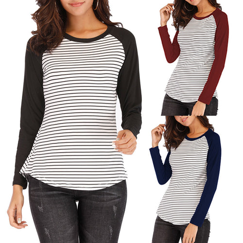 Casual Stripes Round Neck Long Sleeved T-Shirt Blouse