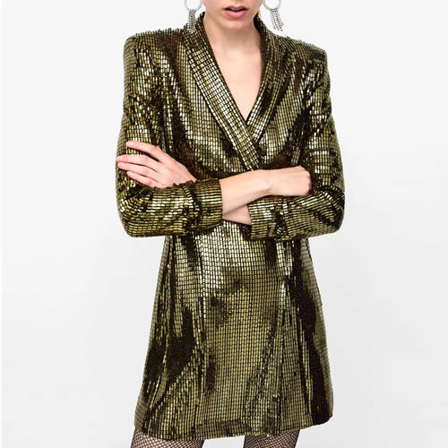 Fashion Casual   Sequined Sexy Suit Style Mini Dress