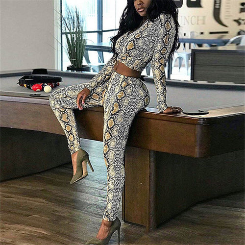 1Casual Serpentine Printing Long Sleeve Sports Suit