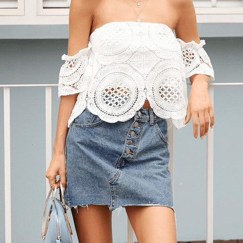 Fashion Boat Neck Off-Shoulder Lace T-Shirt