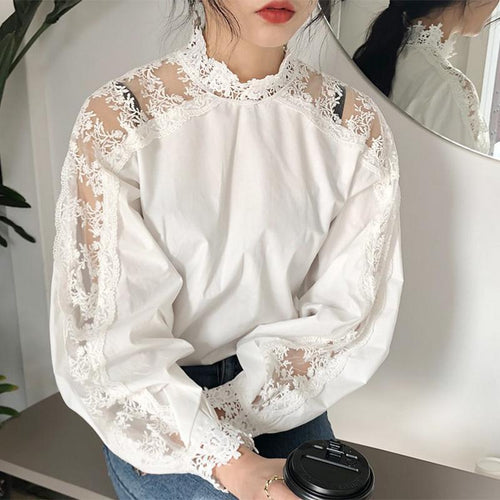 Fashion Lace Pure Colour Long Sleeve T-Shirt