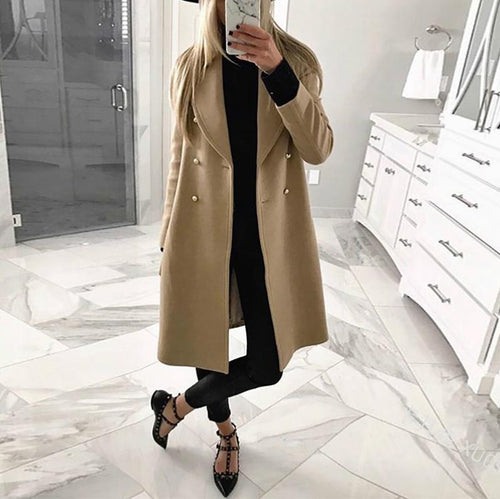 Fashion Pure Colour Double-Breasted Woollen Coat