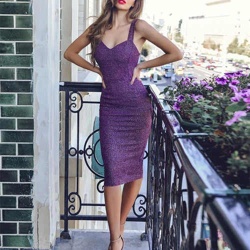 Sexy Sleeveless Pure Colour Slim Bodycon Dresses