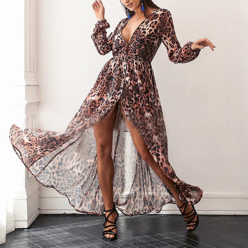 Fashion Sexy V Neck Leopard Print Maxi Dress
