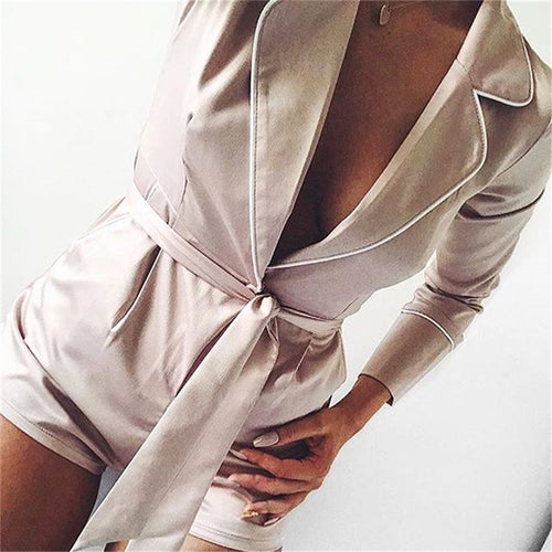 Women's Casual Sexy V   Neck Pure Color Jumpsuit