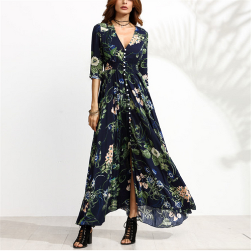Women's Spring Casual   Sexy V Neck Floral Print Maxi Dresses