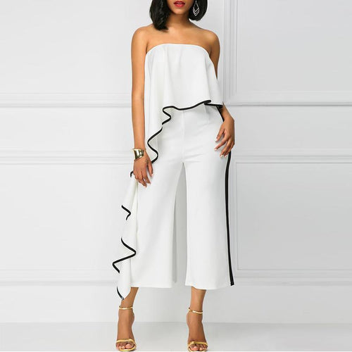 Fashion Slim Show Thin   Boat Neck Wide Leg Jumpsuit