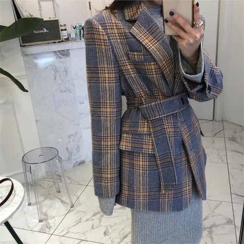 Fashion Show Thin Wool   Plaid Suit Jacket Coat