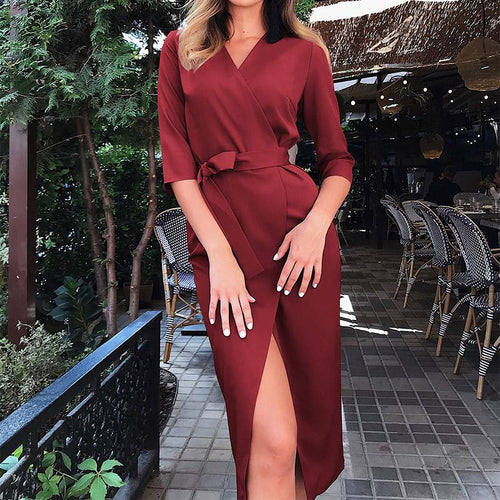 Fashion V Neck Slit Halflong Sleeve Pure Colour Bodycon Dress