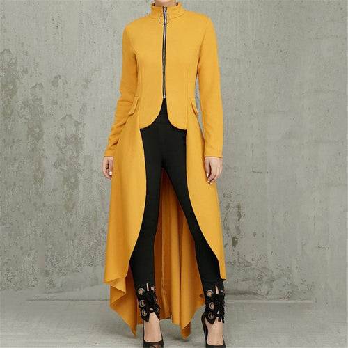 Stylish High Necked Zippered Irregular Coat