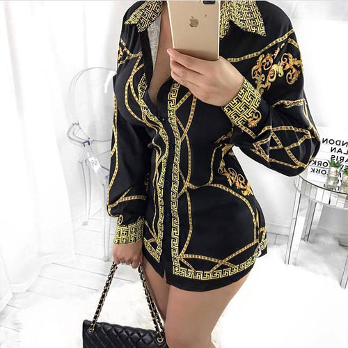 Casual Elegant Printed Colour Long Sleeve Loose Shirt