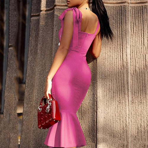 Fashion Pure Colour Bow Bare Back Evening Dress