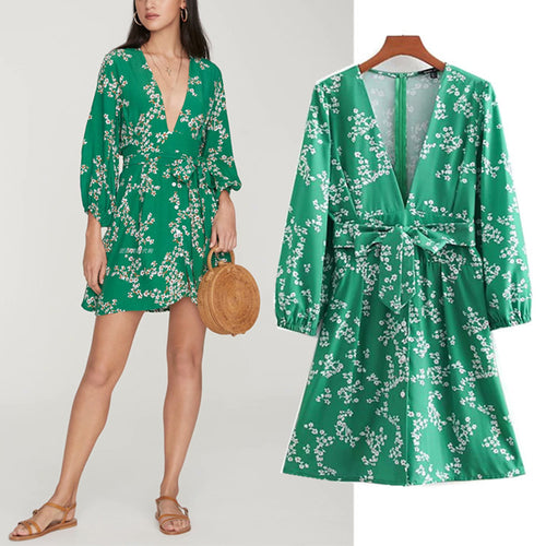 Women's Spring Casual   Sexy V Neck Floral Print Mini Dresses