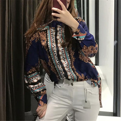 Single Breasted Printed Loose Mid-Length Shirt