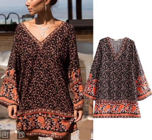 Printed Sexy V-Neck Flared Sleeves Dress