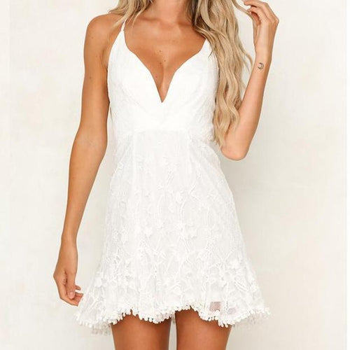 Pure Color Embroidered Lace Fringed Dress