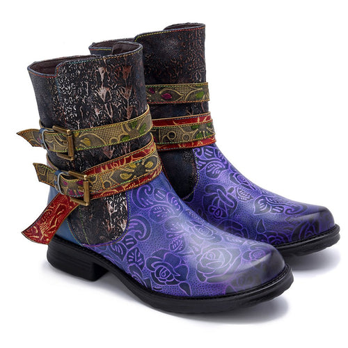 Retro Super Comfortable Foreign Trade Denim Alloy Button Boots
