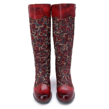 Load image into Gallery viewer, Leisure Leather Elastic And Knee Comfortable Colouring Boots